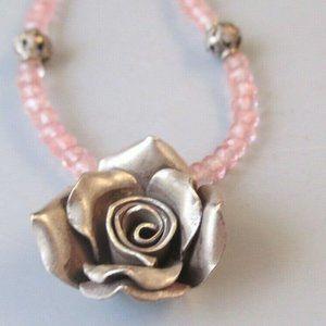 Sterling Silver Rose Necklace Pink Swarovski beads